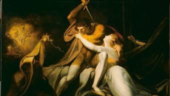 """Dramatisch ausgeleuchtete Szenen sind typisch für Füssli, wie hier beim Ölgemälde """"Parzival befreit Belisane aus der Umarmung durch Urma"""" von 1783."""