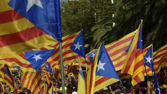 Ein Meer von Katalonien-Fahnen an einer Demo in Barcelona (Archiv)