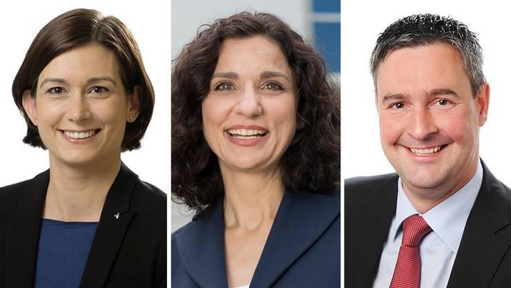 Maja Riniker (FDP), Gabriela Suter (SP), Christian Glur (SVP): Sie sind mögliche Kandidaten für einen Aargauer Sitz im Bundesparlament.