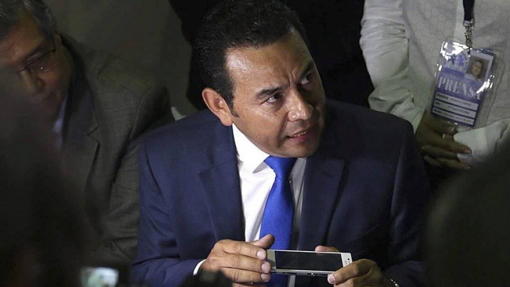 Liegt bei der ersten Wahlrunde in Guatemala vorne, muss aber im Oktober in eine Stichwahl: Schauspieler und Komiker Jimmy Morales von der nationalistischen Partei FCN