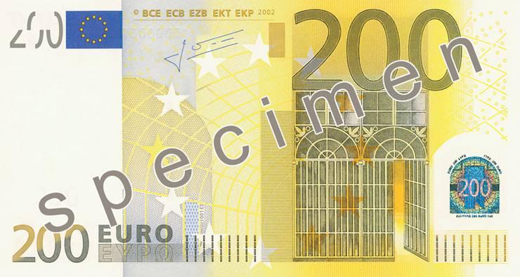 So auch bei der 200-Euro-Note. Hier die Vorderseite.