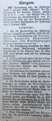 """Der Artikel zur Influenza-Bekämpfung vom 11. Februar 1920 im """"Aargauischen Hausfreund"""""""