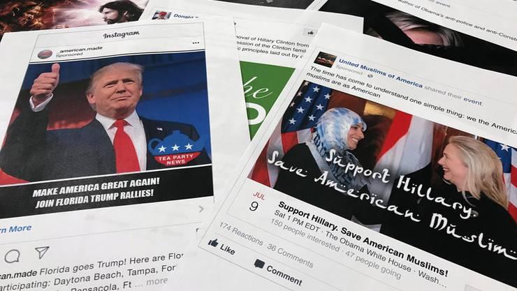 Mit solchen Anzeigen sollen russische Gruppierungen den US-Wahlkampf 2016 beeinflusst haben.