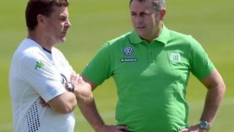 Holten statt Breel Embolo den Brasilianer Bruno Henrique nach Wolfsburg: Trainer Dieter Hecking (links) und Manager Klaus Allofs