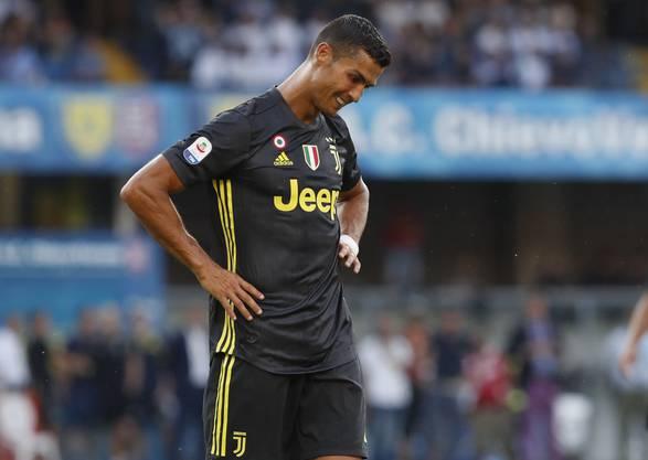 Cristiano Ronaldo wollte in seinem ersten Ligaspiel mit Juve noch kein Tor gelingen.