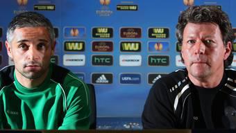 Von der Europa-League-Bühne zurück aufs Brügglifeld: Die beiden Ex-Aarauer Mario Mutsch und Jeff Saibene.