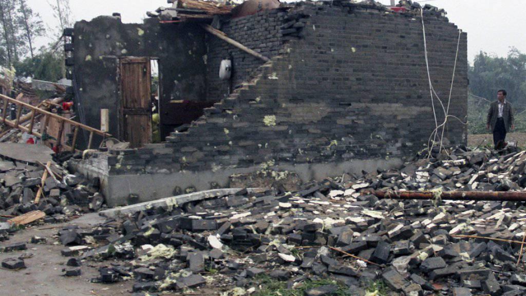 Vom Sturm zerstörtes Haus am Donnerstag in der Stadt Yancheng in Ostchina.