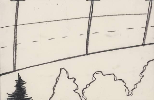 Die Zeichnerin Silvia Bächli setzt keine Titel. «Verlassene Landstrasse» würde für dieses Landschäftchen von 1997 wohl passen.