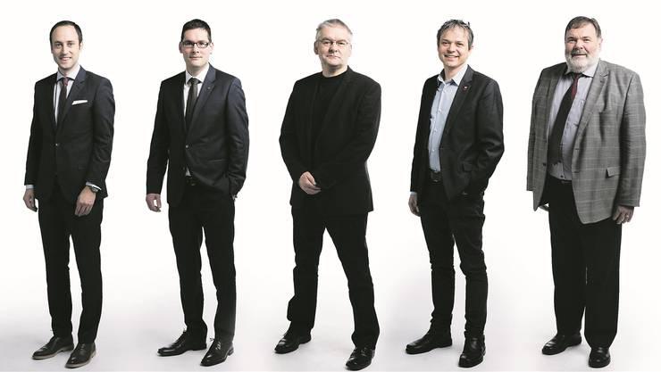 Von links: Der Elegante (Christian Wasserfallen Nationalrat, FDP/BE), der 08/15 (David Zuberbühler Nationalrat, SVP/AR), der Rebell (Denis de la Reussille Nationalrat, PdA/NE), der Weder-noch (Philipp Hadorn Nationalrat, SP/SO), der Unkomplizierte (Jean-Paul Gschwind Nationalrat, CVP/JU).