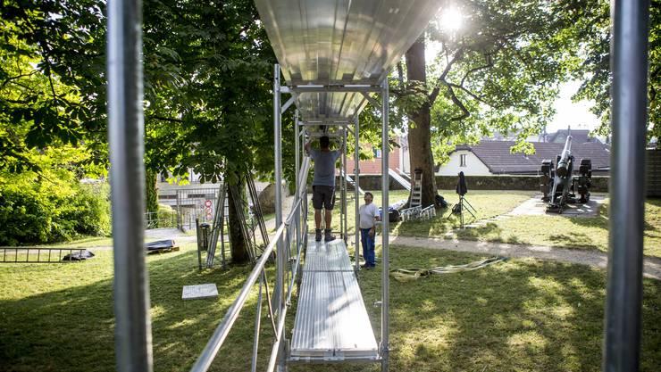 Aufbau für die Sommerfilme 2018 auf der Krummturmschanze