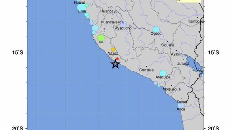 Der Stern auf der Karte bezeichnet den Ort des Bebens.