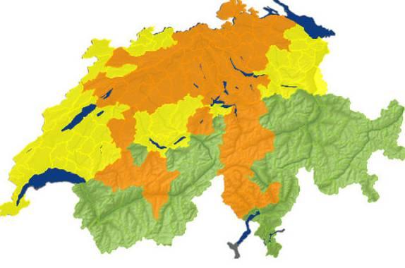 Regionen in Orange sind am stärksten betroffen.