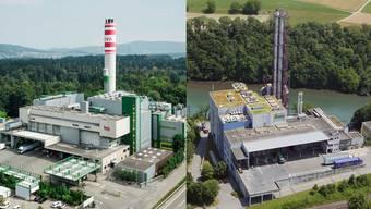 Die KVA Buchs (links) und die KVA Turgi werden beide bestehen bleiben - die Idee eines Zusammenschlusses zu einer Grossanlage wurde verworfen.