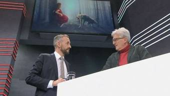 Moderator Mario Grossniklaus im Gespräch mit SRF-Biologe Andreas Moser.