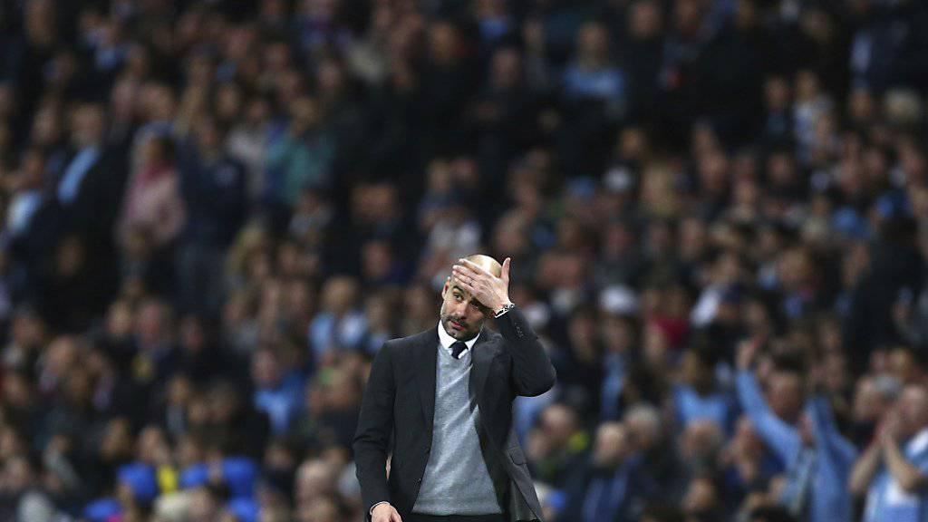 Pep Guardiola kam mit Manchester City nur zu einem torlosen Remis (Archivbild)