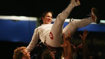 Tiffany Géroudet lässt sich als Europameisterin feiern