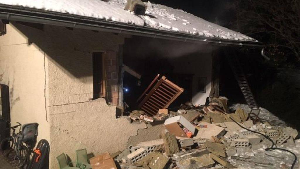 Bei der Explosion in Vollèges am 20. Januar gab es keine Verletzten, das Haus wurde jedoch stark beschädigt.