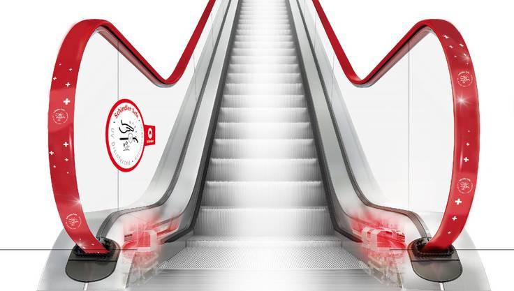 Die UV-Lampen sind direkt in der Rolltreppe integriert, so dass die Oberflächen der Banden desinfiziert an die Luft kommen.