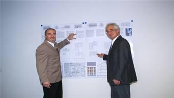 Gemeindeammann Patrick Fischer und WGOS-Präsident Daniel Kühne erklären die detaillierten Pläne.
