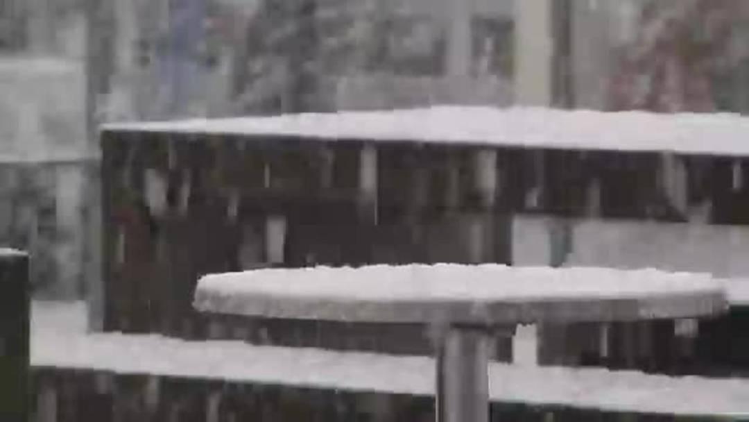 Kurzer, aber kräftiger Schneefall im Aargau