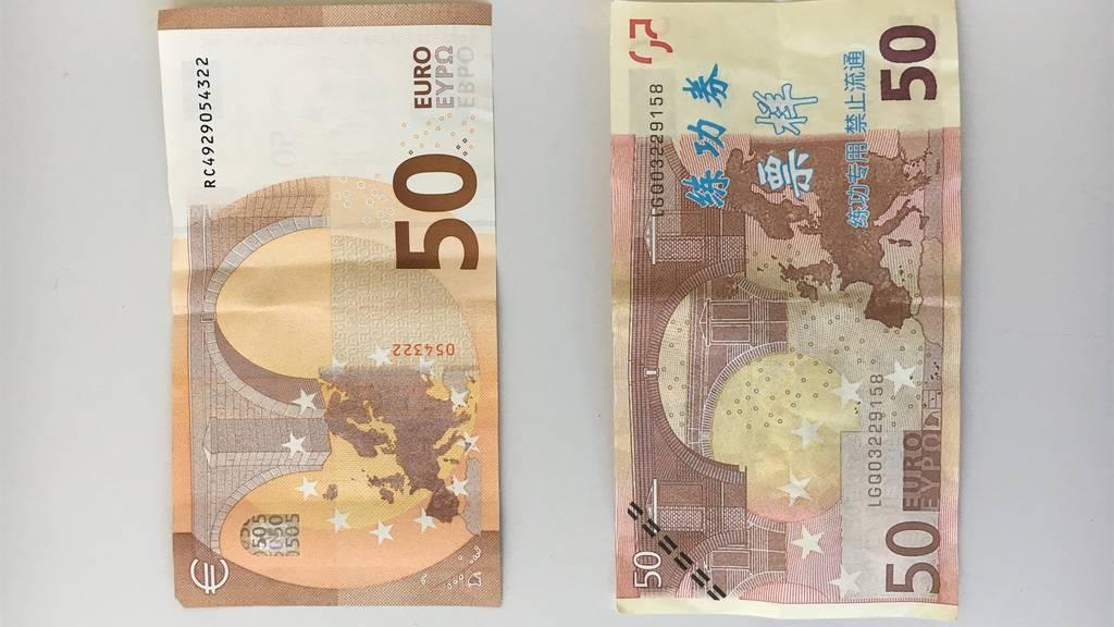 Mit diesen gefälschten Banknoten sollen die Jugendlichen bezahlt haben.