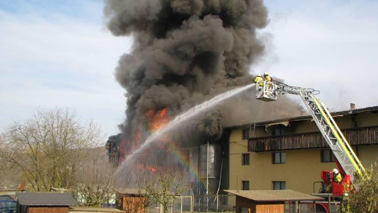 In Veltheim bricht Dienstagnachmittag in einer Legehennenfarm ein Feuer aus.