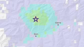 Die beide nächtlichen Erdbeben ereigneten sich unweit des Sanetschpasses nördlich des Walliser Hauptorts Sitten.