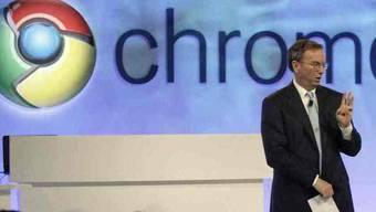 Bald auch auf Apple-Geräten: Googles Chrome-Browser, hier präsentiert von Google-CEO Eric Schmidt (Archiv)
