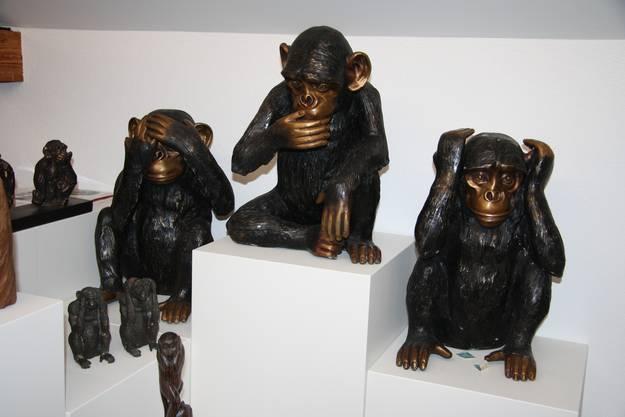 Auch als Bronzeguss gibts die Affen