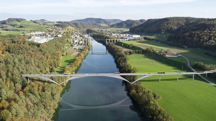 So soll die neue Brücke westliche von Eglisau aussehen. Im Hintergrund die Eisenbahnbrücke.