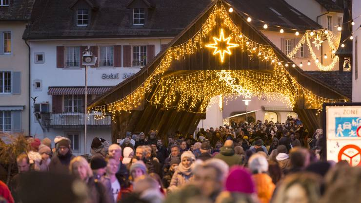 Der Christchindli-Märt in der Bremgartner Altstadt am 8. Dezember 2018 - heuer wird es nicht so aussehen.