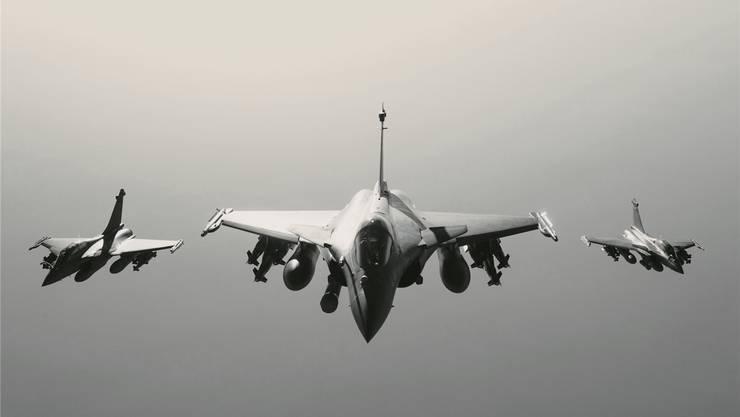 Bald auch in der Schweiz im Einsatz?Rafale-Kampfjets über Syrien.Französische Luftwaffe/ECPAD/AP/Key
