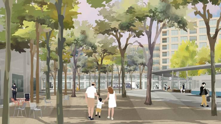 Viele Bäume statt Busse: So soll es am Bahnhof Dietikon dereinst aussehen
