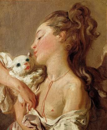 Jean-Honoré Fragonard, Junges Mädchen mit Katze, um 1770.