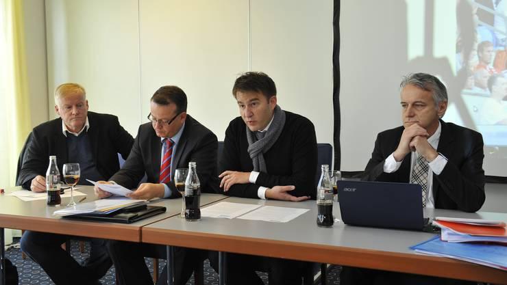Verantwortliche des Uhrencup geben das Aus für den Uhrencup bekannt. v.l.: Urs Siegenthaler, Thomas Vogt, Sascha Ruefer und Roger Rossier.