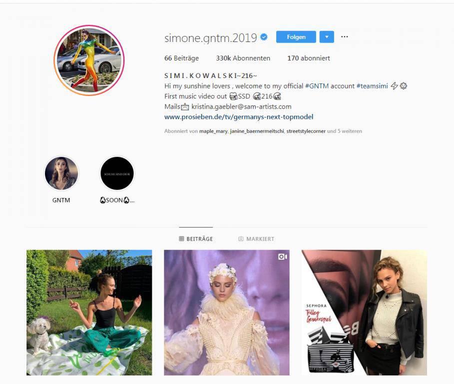 Simone liegt mit 323'000 Followern auf dem ersten Platz. (© Instagram/simone.gntm2019)