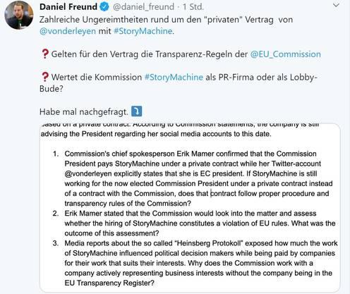 EU-Kommission sollte Transparenz schaffen: EU-Parlamentarier Daniel Freund.