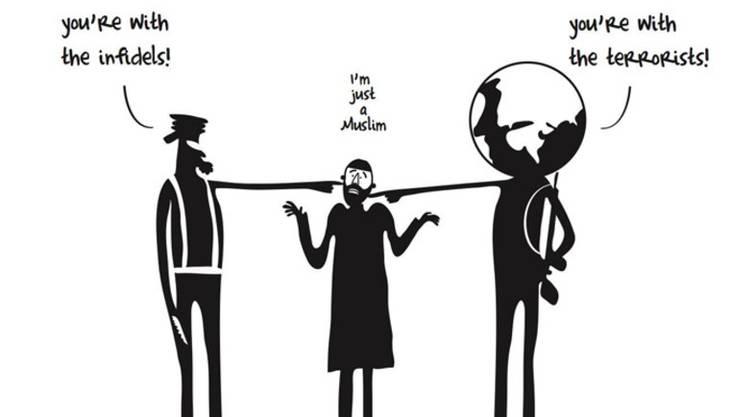 Muslime im Clinch zwischen Extremisten und dem Westen.