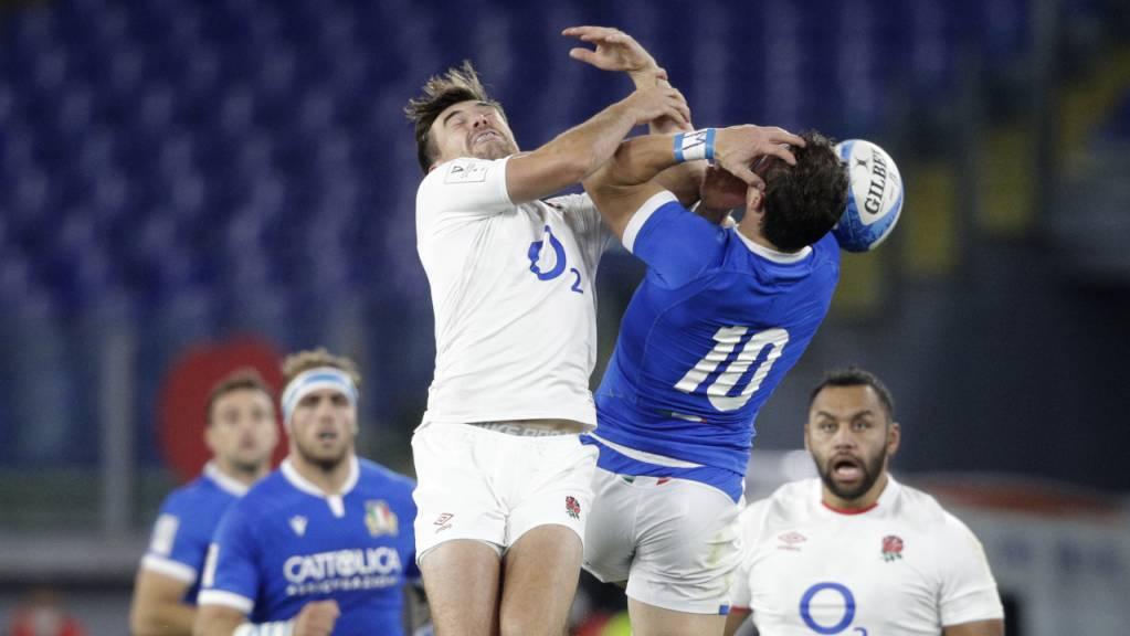 Klarer Sieg in Italien, knapper Erfolg im Six-Nations-Turnier: Englands Rugbyteam mir George Furbank (li.)