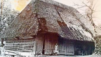 Das letzte Strohdachhaus in der Gemeinde Schmiedrued, abgebrochen 1962 (Aufnahme von 1955/1960).