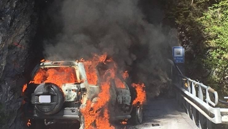 Dank der schnellen Reaktion der beiden Autoinsassen überstanden vier im Anhänger mitgeführte Kälber den Vollbrand des Fahrzeugs unbeschadet.