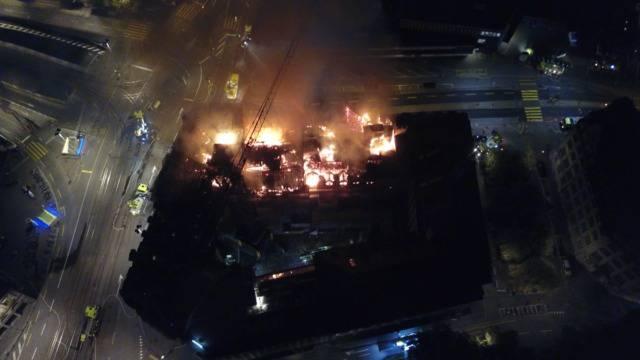 Grossbrand am HB: Die Bilder aus der Luft