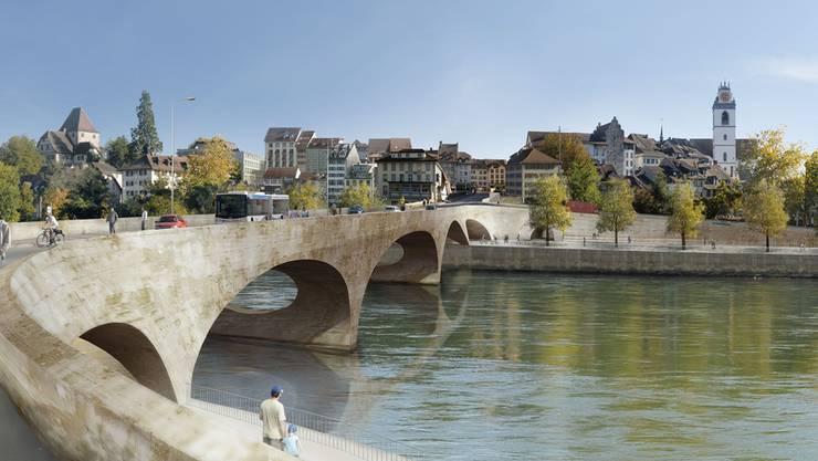 Animation der geplanten neuen Aarebrücke in Aarau.