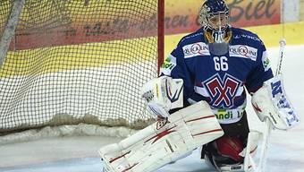 Einer der drei Debütanten: Biels Goalie Lukas Meili.