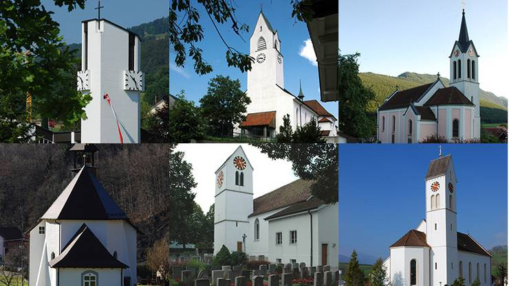 von links oben: Kirche St. Josef (Aedermannsdorf), kath. Kirche St. Theodul (Welschenrohr), Pfarrkirche St. Johannes (Herbetswil), Pfarrkirche St. Joseph (Gänsbrunnen), kath. Kirche St. Pankraz (Matzendorf), Pfarrkirche St. Martin (Laupersdorf)