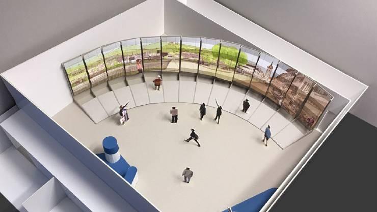 """An der Messe Zug präsentiert sich der Aargau mit einem riesigen Bild mit Landschaftssujets. """"Darunter die Schlösser, der Stadtturm in Bremgarten, das Hightech Zentrum oder das Kloster Muri"""", sagt Peter Buri, Mediensprecher der Regierung. Hier eine erste Skizze, wie das Bild umgesetzt werden soll."""
