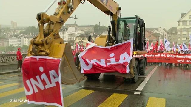 15'000 Bauarbeiter demonstrieren in Zürich