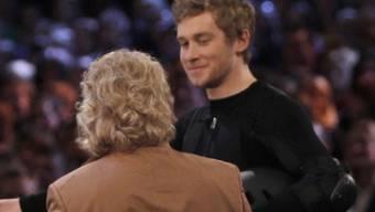 Samuel Koch (rechts) kurz vor seinem Unfall in der TV-Show