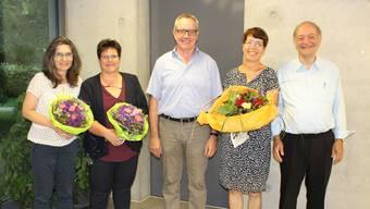 Regina Erhard und Regula Weber (v.l.) sind neu im Vorstand. Werner Müller heisst der neue Präsident, Anita Walder und Bernhard Horlacher scheiden aus dem Vorstand aus.