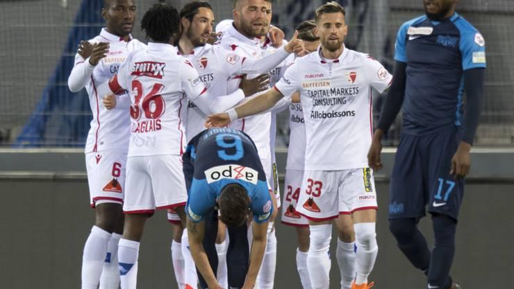 Früher Sittener Jubel: Schon nach sechs Minuten fiel das 1:0 gegen den FCZ